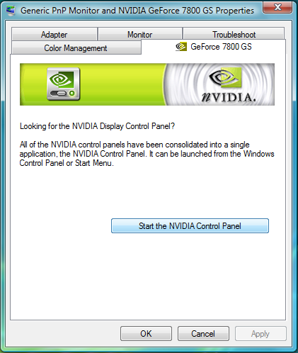 Card driver for vista video