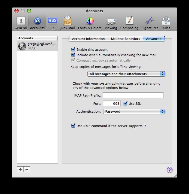 Apple Mail Setup Notes